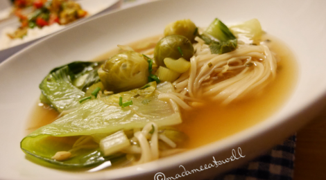 Vegan pho with udon noodles