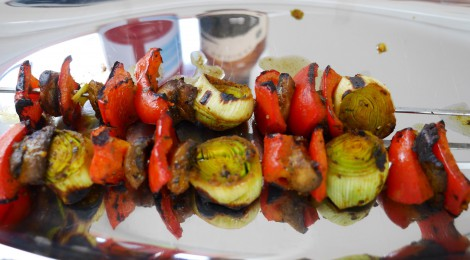 Curried veggie skewers